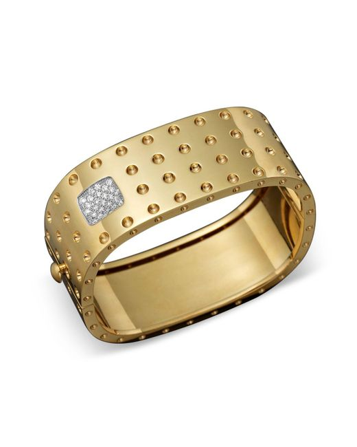 Roberto Coin | Metallic 18k Yellow Gold Pois Moi Four Row Diamond Cuff | Lyst
