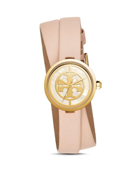 Tory Burch - Multicolor Reva Double-wrap Watch, Nude Leather/gold Tone, 28 Mm - Lyst
