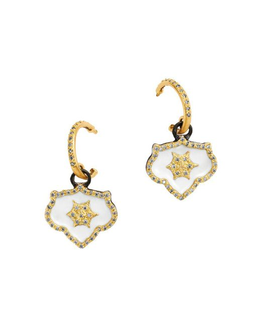 Armenta - Metallic 18k Yellow Gold & Blackened Sterling Silver Old World Crivelli Champagne Diamond Shield Drop Earrings - Lyst