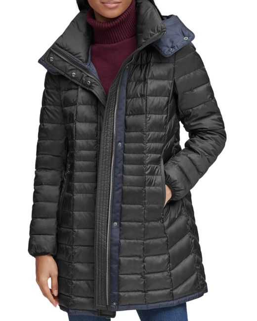 Marc New York - Black Marble Packable Hooded Puffer Coat - Lyst