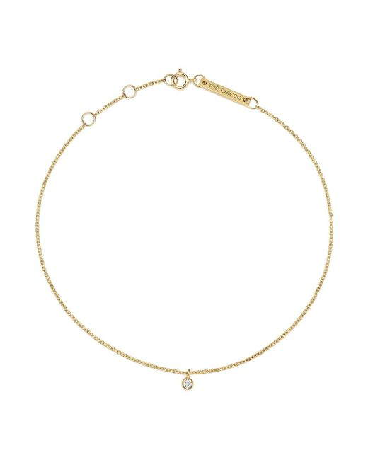 Zoe Chicco | Metallic 14k Yellow Gold Diamond Charm Anklet | Lyst