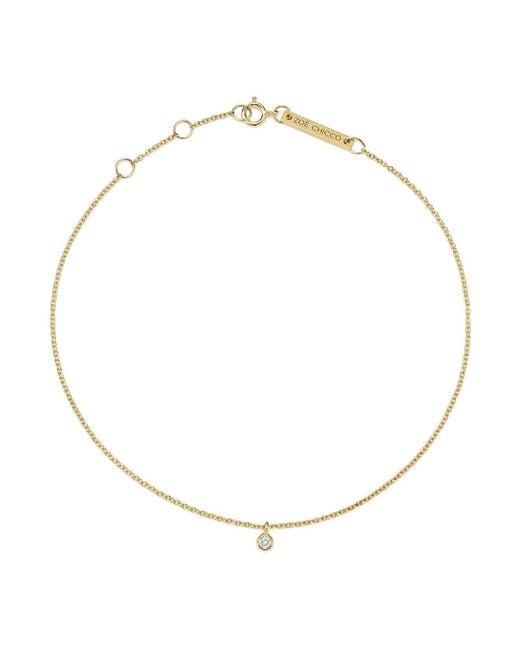 Zoe Chicco - Metallic 14k Yellow Gold Diamond Charm Anklet - Lyst