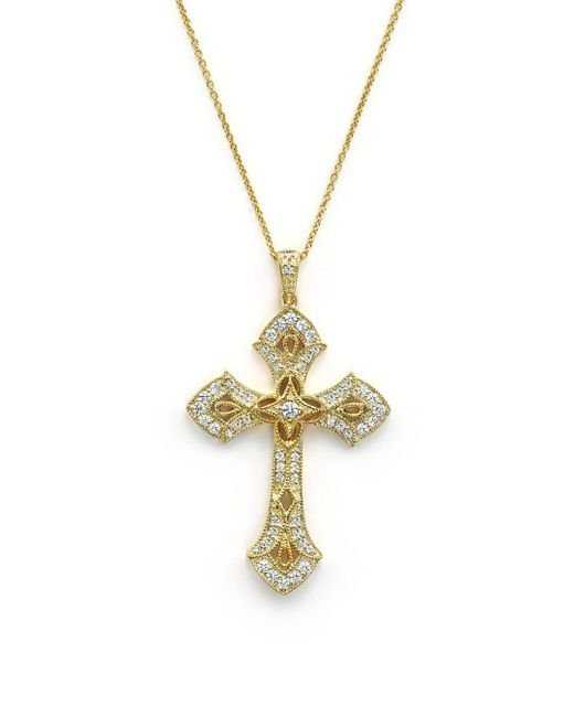 Bloomingdale's - Metallic Diamond Cross Pendant Necklace In 14k Yellow Gold, .50 Ct. T.w. - Lyst