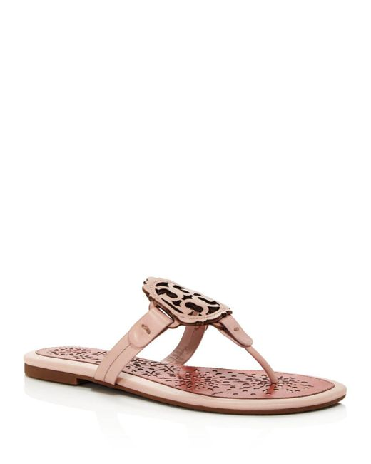 deab510eb Tory Burch - Pink Women s Miller Scallop Leather Thong Sandals - Lyst ...