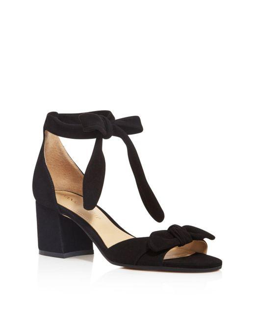 Ivanka Trump | Black Ezra Suede Ankle Tie Mid Block Heel Sandals | Lyst