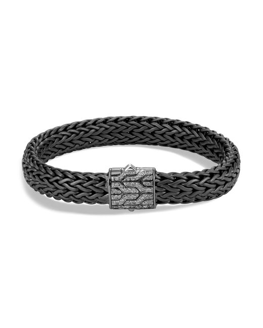 John Hardy | Men's Sterling Silver Classic Chain Large Flat Chain Bracelet With Gray Diamonds for Men | Lyst