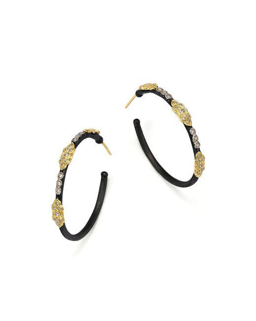 Armenta - Metallic 18k Yellow Gold And Blackened Sterling Silver Old World Large Diamond Hoop Earrings - Lyst