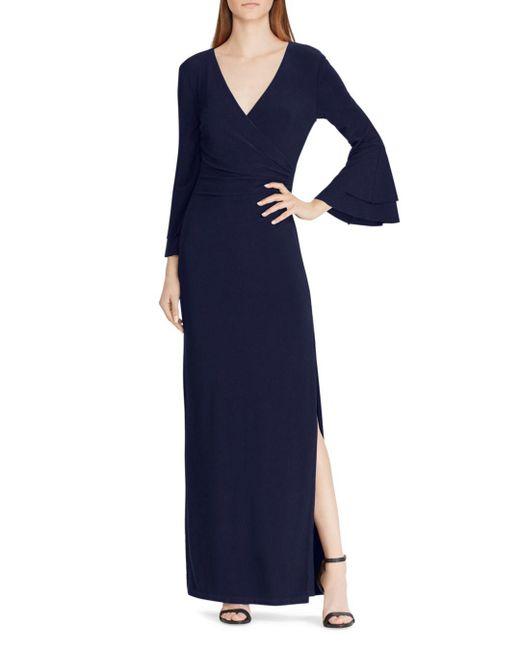 Ralph Lauren - Blue Lauren Bell-sleeve Jersey Gown - Lyst