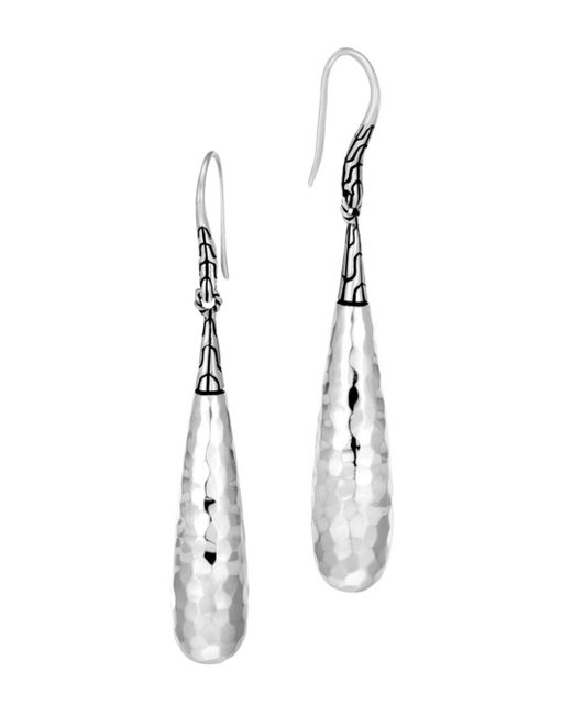 John Hardy - Metallic Sterling Silver Classic Chain Hammered Drop Earrings - Lyst