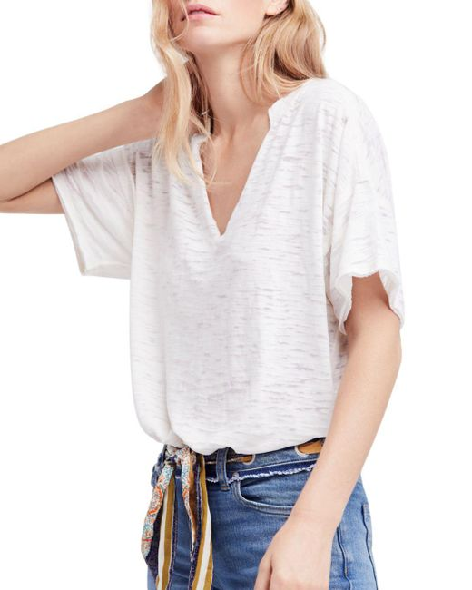 Free People - White Maddie Burnout Tee - Lyst