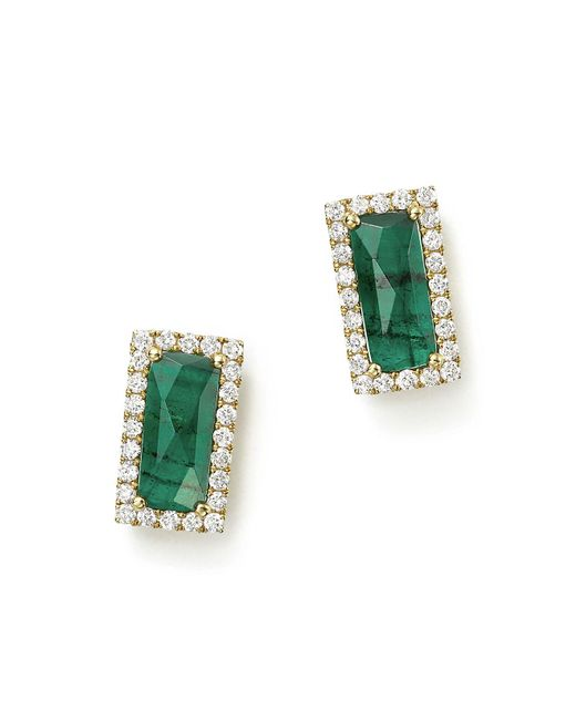 Meira T | Green 14k Yellow Gold Emerald Rectangle Stud Earrings With Diamonds | Lyst