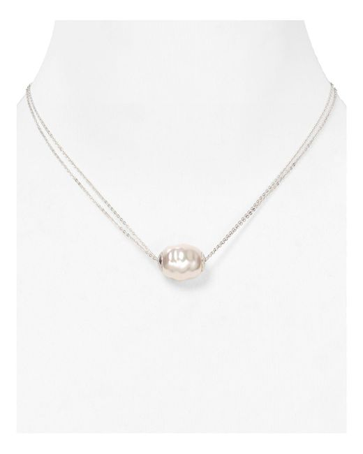 Majorica | Metallic Baroque Simulated Pearl Two Row Chain Necklace, 14"