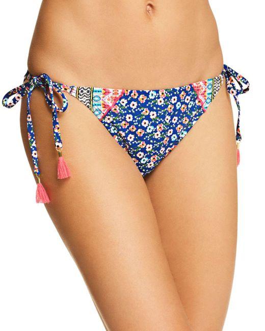 Laundry by Shelli Segal - Blue Patchwork Floral Side Tie Bikini Bottom - Lyst