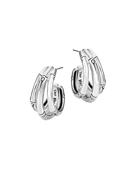 John Hardy | Metallic Bamboo Silver Small J Hoop Earrings | Lyst