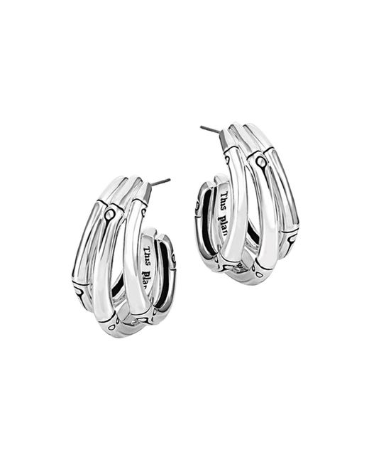 John Hardy | Metallic Bamboo Silver Small J Hoop Earrings | Lyst