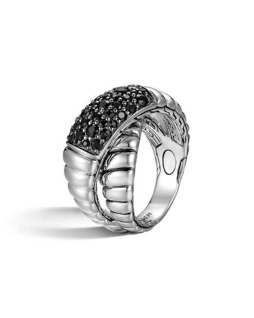 John Hardy | Metallic Bedeg Silver Lava Crossover Ring With Black Sapphires | Lyst