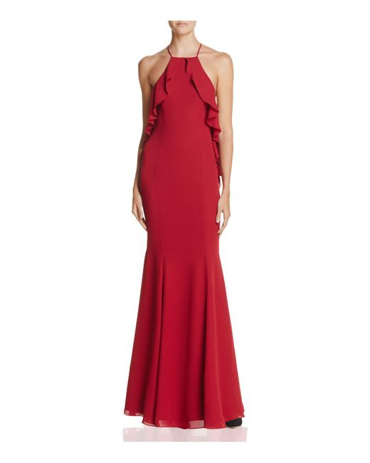 Fame & Partners   Red The Quasar Ruffle Gown   Lyst