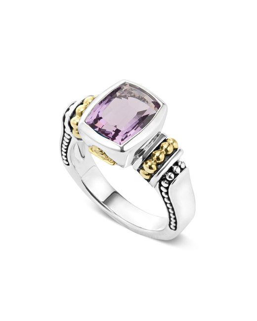 Lagos | Metallic 18k Gold And Sterling Silver Caviar Color Small Amethyst Ring | Lyst