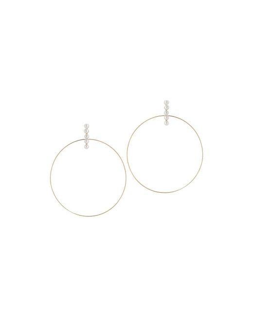 Mateo | Metallic 14k Yellow Gold Cultured Freshwater Pearl Hoop Drop Earrings | Lyst