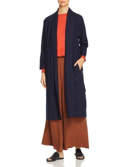Eileen Fisher - Blue Wool Duster Wrap Cardigan - Lyst