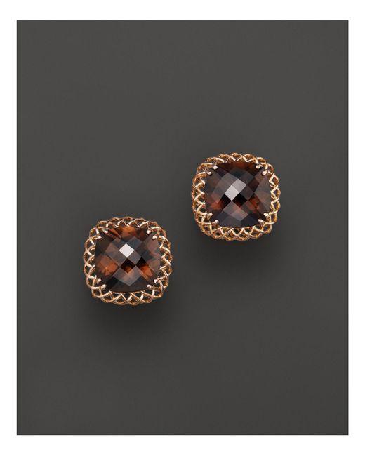 Roberto Coin | Pink 18k Rose Gold Ipanema Smoky Quartz Stud Earrings | Lyst