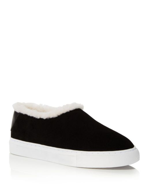 Tory Burch - Black Miller Suede And Shearling Slip-on Sneakers - Lyst