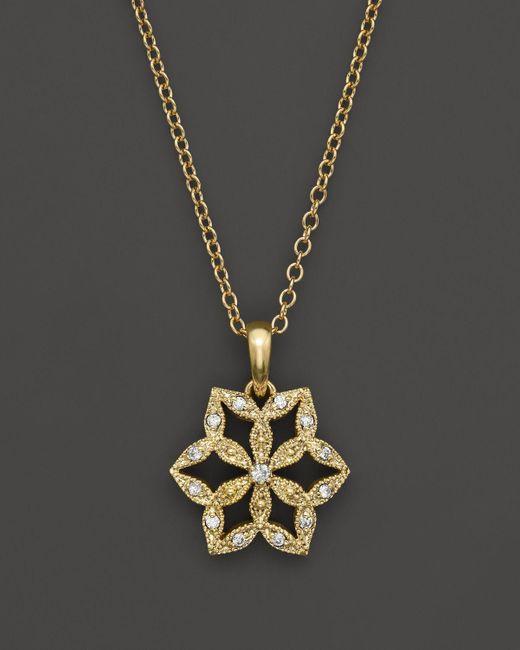 "Mizuki | Metallic 14k Yellow Gold Diamond Flower Crest Necklace, 16"" | Lyst"