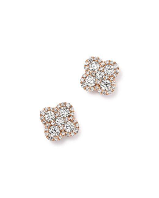 Bloomingdale's - Multicolor Diamond Clover Stud Earrings In 14k Rose Gold, 1.0 Ct. T.w. - Lyst