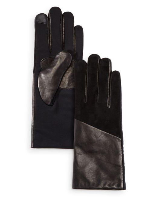 Echo - Black Leather Detail Tech Gloves - Lyst