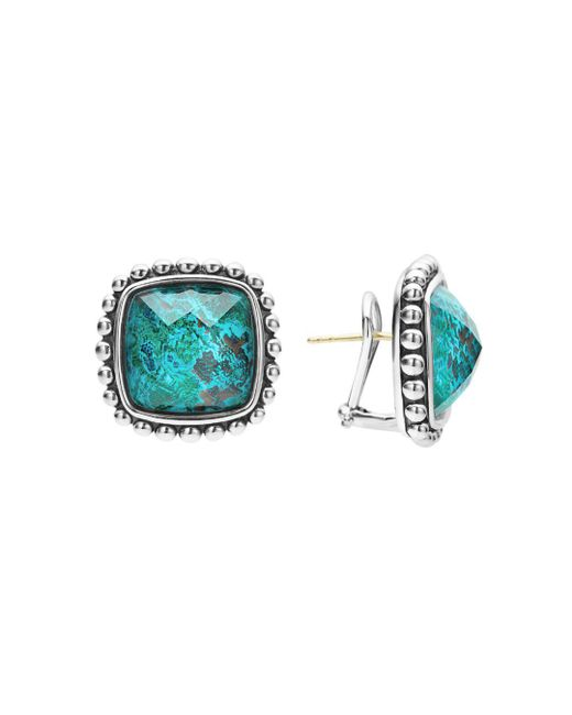 Lagos - Multicolor Sterling Silver Maya Escape Chrysocolla Doublet Square Omega Clip Earrings - Lyst