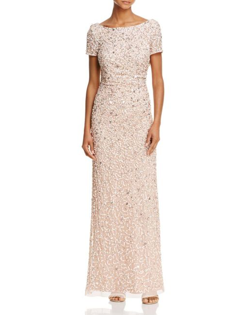 Adrianna Papell - Multicolor Beaded Cowl-back Gown - Lyst