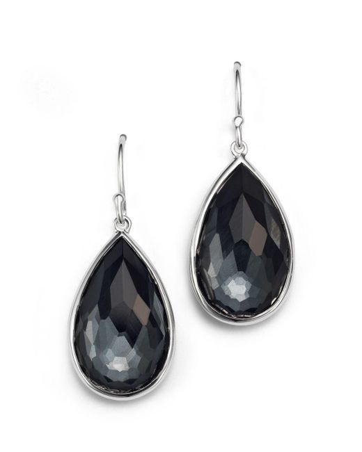 Ippolita - Gray Sterling Silver Rock Candy® Medium Pear Wire Earrings In Clear Quartz And Hematite - Lyst