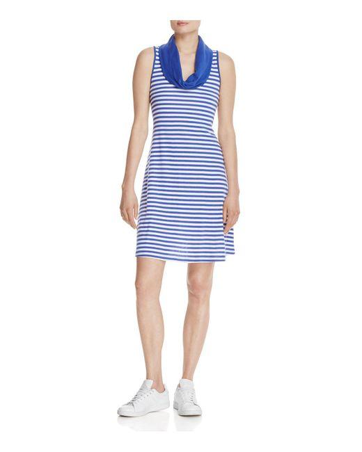 Three Dots | Blue Cowl Neck Stripe Dress | Lyst