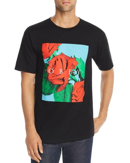 Obey Black No Love Lost Graphic Tee for men