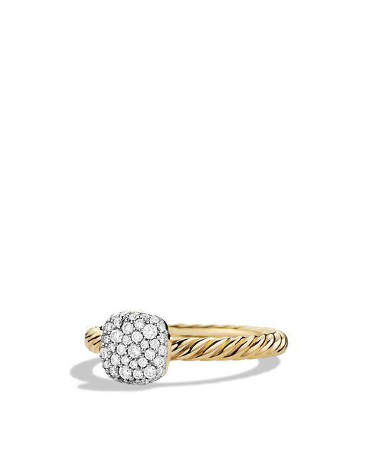 David Yurman   Metallic Petite Pavé Cushion Ring With Diamonds In Gold   Lyst