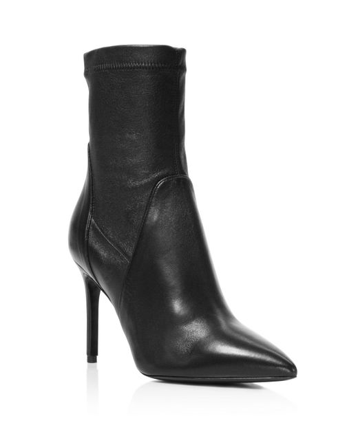 Charles David - Black Linden Stretch Leather Pointed Toe Booties - Lyst