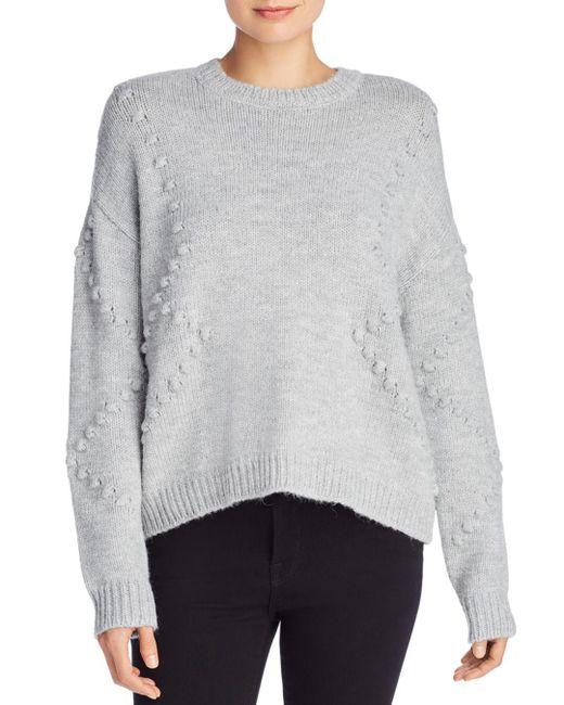 Aqua - Gray Popcorn Knit Sweater - Lyst