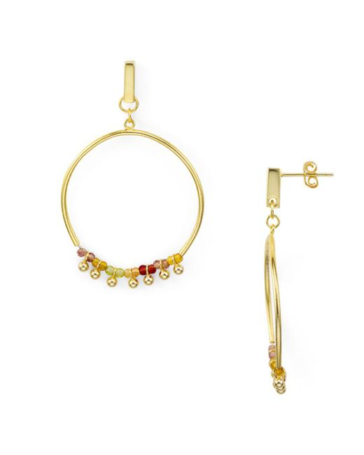 Aqua - Metallic Rainbow Beaded Frontal Hoop Earrings In 18k Gold-plated Sterling Silver - Lyst