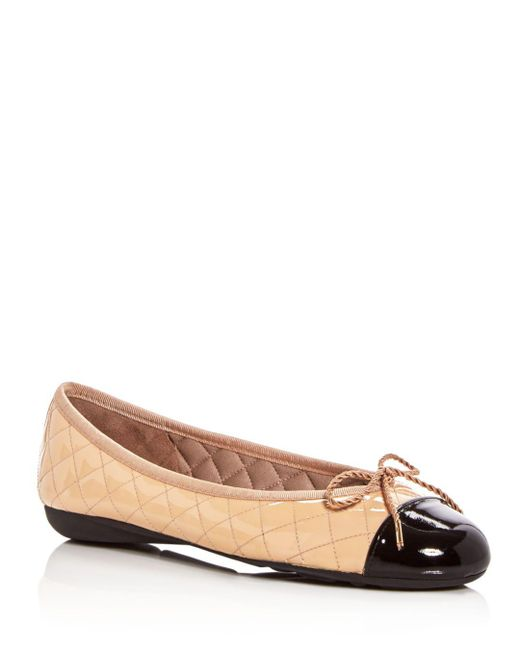 Paul Mayer - Natural Women's Best Quilted Leather Cap Toe Ballet Flats - Lyst