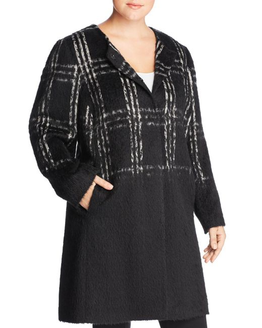 Eileen Fisher - Black Plaid Color-block Coat - Lyst