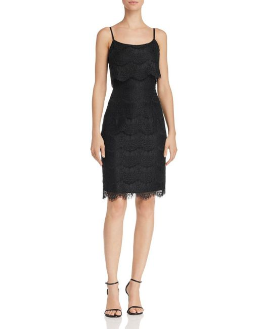 Nanette Nanette Lepore - Black Scalloped Lace Overlay Sheath Dress - Lyst