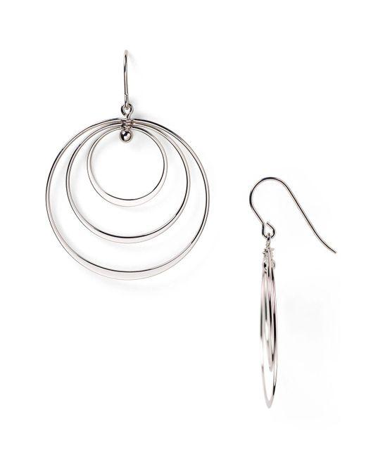 Bloomingdale's - Metallic Sterling Silver Triple Circle Drop Earrings - Lyst