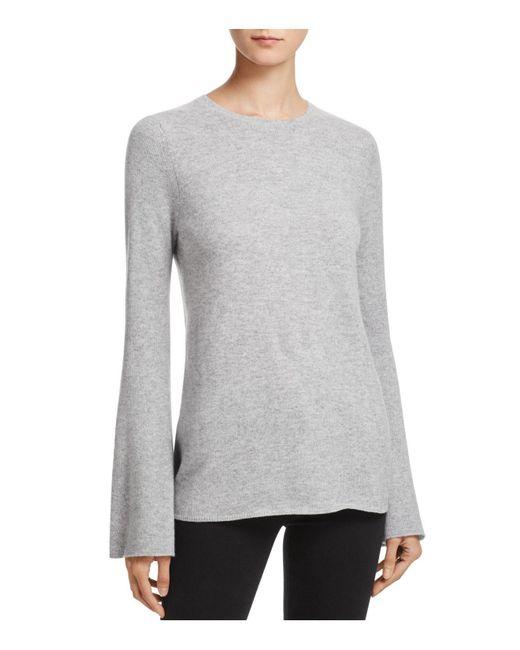 Aqua | Gray Cashmere Bell-sleeve Crewneck Sweater | Lyst