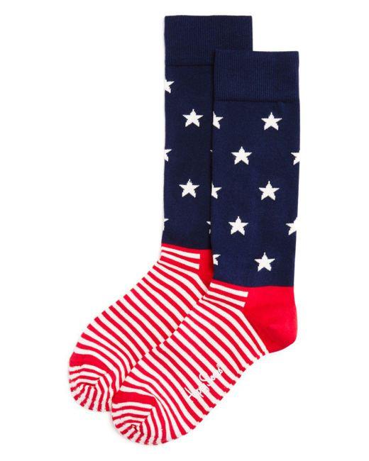 Happy Socks - Blue Stars & Stripes Socks for Men - Lyst