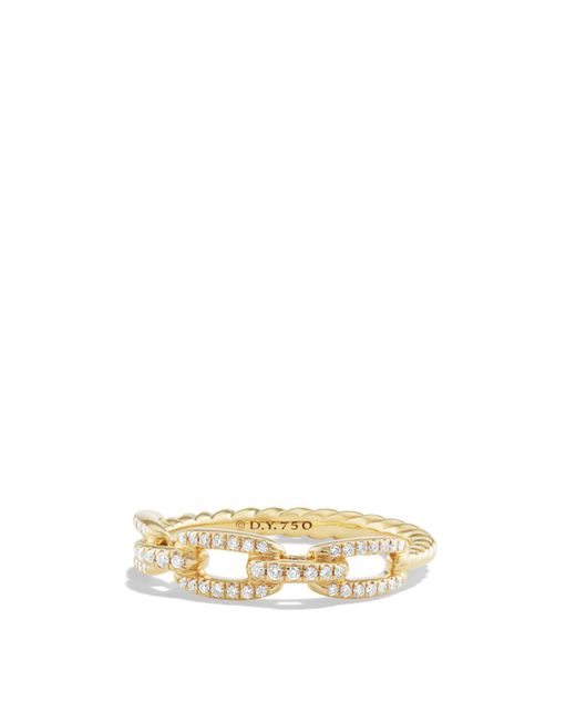 David Yurman | Metallic Stax Single Row Pave Chain Link Ring With Diamonds In 18k Gold | Lyst
