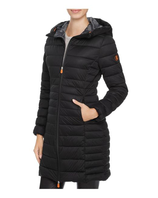 Save The Duck | Black Packable Quilted Long Puffer Coat | Lyst