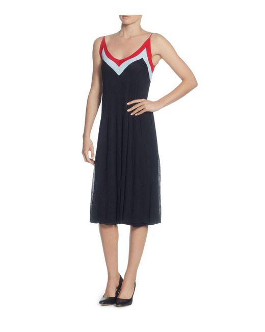 Catherine Malandrino - Black Olympe Stripe V-neck Dress - Lyst