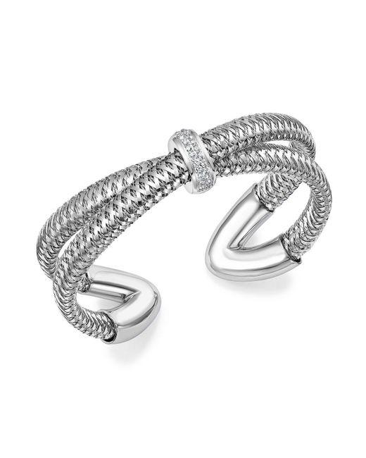 Roberto Coin | 18k White Gold Primavera Diamond Cuff Bracelet | Lyst