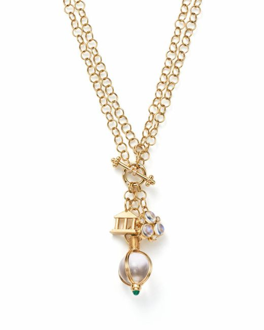 Temple St. Clair - Metallic Diamond And Emerald Three Charm Pendant Necklace - Lyst