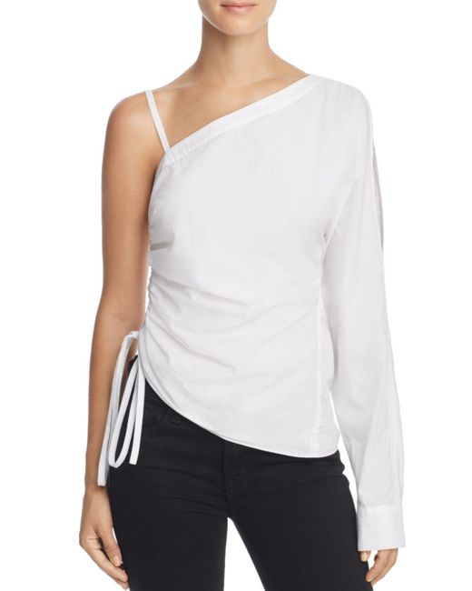 T By Alexander Wang - White One-sleeve Washed Poplin Top - Lyst